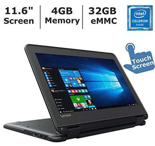 """Lenovo N23 2-in-1 Convertible Laptop (2017 ), 11.6"""" Touchscreen HD IPS Display, Intel Celeron Dual Core Processor Up to 2.5 GHz, 4GB RAM, 32GB SSD, Webcam, Bluetooth, Windows 10 Professional"""