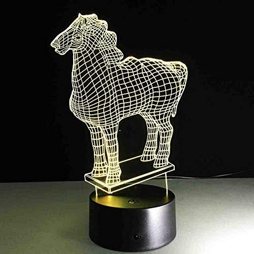 BJDKF 3D-lamp, paard, dimbaar, nachtlampje, creatieve festival, als decoratieve decoratie voor thuis, voor vrienden, powerbank, USB-ledlampen