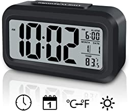 GLOUE Digital Alarm Clock Battery Operated with Indoor Temperature,Smart Night Light,Snooze,Date,12/24Hr, for Bedroom/Travel/Desk Small Clock (Black)