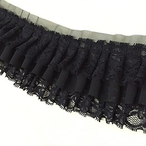 "3-3/4"" Wide Pleated Chiffon Lace Trims Ruffled Lace Trims for Clothing Sewing DIY Craft Supply (Black-2Yard)"