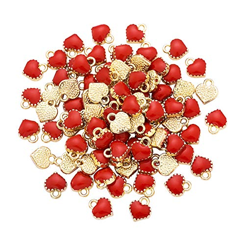 Pandahall 100pcs Mini Red Heart Charms Alloy Enamel Dangle Pendants with Gold Plated 8x7.5x2.5mm for Mother's Day Jewelry Making Valentine's Gifts Accessories Finding Supplies Hole: 1.5mm