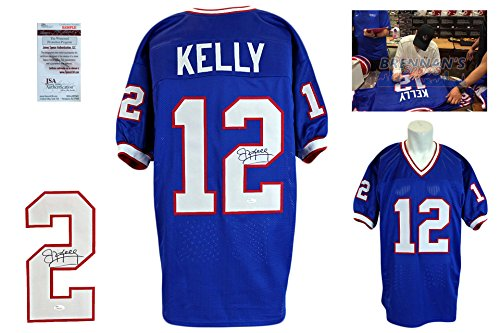 Jim Kelly SIGNED Jersey - JSA Witnessed - Autographed w/ Photo - Royal