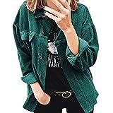 Chaqueta de pana casual de manga larga con botones de manga larga para mujer, abrigo de otoño e invierno (verde, XXXL)