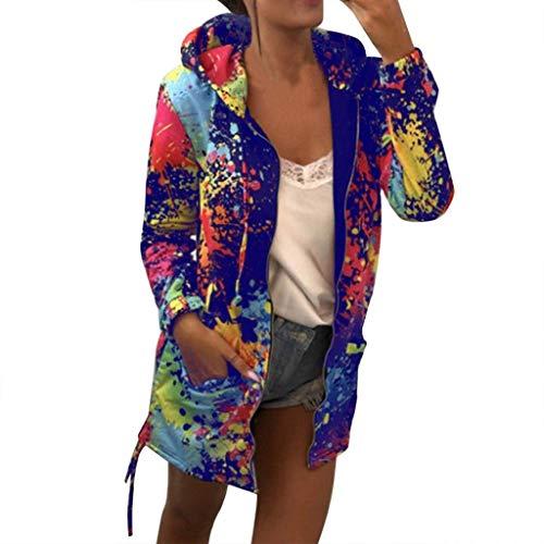 Women Hooded Jackets TUDUZ Ladies Tie Dye Print Hoodies Sweatshirt Coat Hoody Outwear Overcoat with Pocket Sale Clearance BlueS