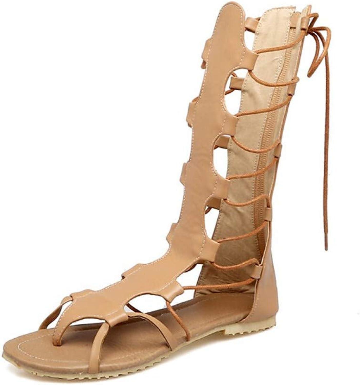 ZHZNVX Women's PU Summer Sandals Flat Heel Open Toe White Black Almond
