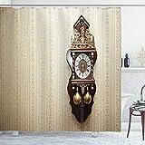 ABAKUHAUS Reloj Cortina de Baño, Reloj de Pared de Madera Talla, Material Resistente al Agua Durable Estampa Digital, 175 x 180 cm, Brown y Tan