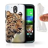 Handy Hülle kompatibel mit HTC Desire 526G+ Wilde Große Katzen Afrikanischer Leopard Transparent Klar Ultra Sanft Flexibel Silikon Gel/TPU Case Cover