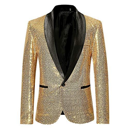 Battnot Herren Anzug Slim Fit Pailletten Blazer, Männer Sequin Mantel für Geschäft Hochzeit Party Business Eine Knöpfe Jacke Suit Regular Fit Fashion Top Coat Outwear S-2XL Stilvolle Bluse