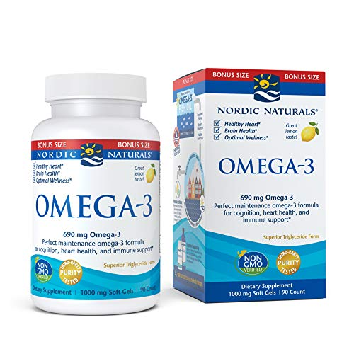 Nordic Naturals Omega-3, Lemon Flavor - 690 mg Omega-3-90 Soft Gels - Fish Oil - EPA & DHA - Immune Support, Brain & Heart Health, Optimal Wellness - Non-GMO - 45 Servings