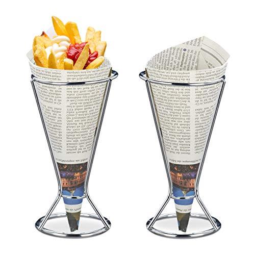 Relaxdays Pommeshalter 2er Set, Edelstahl, für Spitztüten mit Pommes, Chips, Gemüse, Snackhalter, HD 16 x 9,5 cm, silber