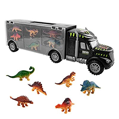 Dinosaur Truck Toy, Dinosaur Truck Set with 6 Mini Dinosaurs Educational Kids Truck Toy Car for Children Boys Girls by TWFRIC