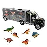 sanlinkee Camión Transportador de Dinosaurios y 6 Figuras de Juego Dinosaurios Coche de Juguetes de Dinosaurio Educativo Regalo para Cumpleaños y Días Festivos para Niños Niñas 3 Años