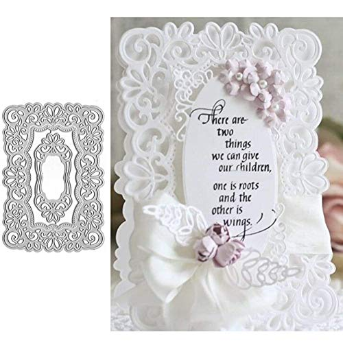 Lace Background Frame Metal Die Cuts,Lace Flower Border Edge Square Cutting Dies Cut Wedding Invitation Stencils DIY Scrapbooking Album Decorative Embossing Paper Dies Card Making
