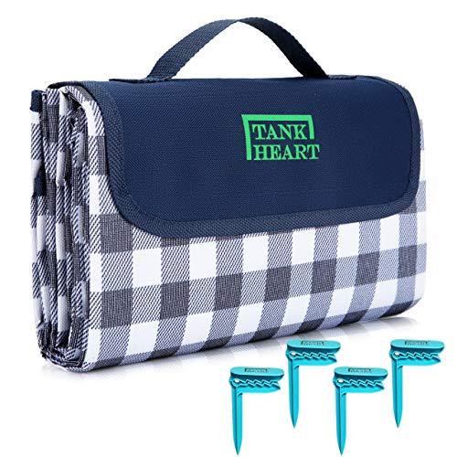 Picknickdecke, 152,4 x 203,2 cm, wasserdicht, sanddicht, feuchtigkeitsbeständig, kratzfest, faltbar, waschbar, sandfrei, Stranddecke, Übergröße (blau)