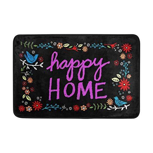 Felpudo Happy Home Indoor Outdoor Door Mat Non-Slip Felpudo 15.7X23.6 Inch Machine Washable Polyester Fabric