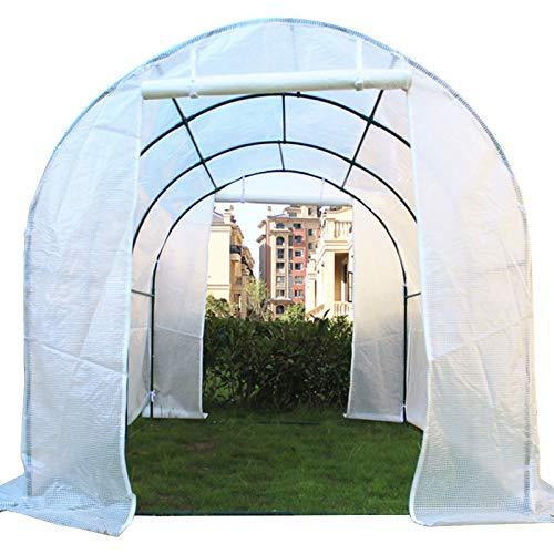 ERRU Invernadero Gran Paseo en Túnel de Invernadero, Casa Caliente para Plantas de Jardín con Ventanas de Observación/Puerta/Cubierta de PE Demasiado Larga, Marco de Acero