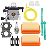 Trustsheer MM55 Carburetor Carb with Tune Up Kit Air Filter Fuel Line for STIHL MM55 MM55C Tiller Trimmer Zama C1Q-S202A C1Q-S202 Carb Replaces 4601-120-0600