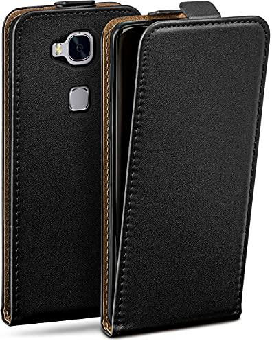 moex Flip Hülle für Huawei Honor 5X / GR5(2016) Hülle klappbar, 360 Grad R&um Komplett-Schutz, Klapphülle aus Vegan Leder, Handytasche mit vertikaler Klappe, magnetisch - Schwarz
