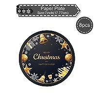 新年とクリスマスのプレゼントを飾る使い捨てのナイフとフォークと皿 (58-2)