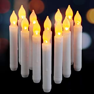 AMAGIC 6.9 Inch Flameless LED Taper Candles Lights, Battery Operated Party Floating Candles, Electric Tapered Candles for Christmas, Wedding Decorations, Set of 12