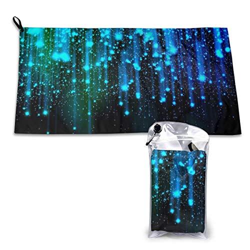 Blauwe Abstract wallpaper met lichtgevende linnen en stippen abstract achtgrond foto handdoeken sneldrogend met karabijnhaak met absorberende tas en sneldrogende sporthanddoek 40 x 80 cm