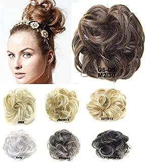 Girls Updo Donut Hair Bun Synthetic Clip On Chignon Hairpiece Drawstring Ponytail Bun Hair Extensions #M2-30