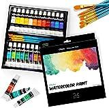 Watercolour Paint Set, Ohuhu 24 Painting Tubes(12ml) with 6 Paint Brushes,Vibrant Colors Watercolour Paint 30 Set for Artists, Beginners, for Landscape Portrait Paintings on Canvas