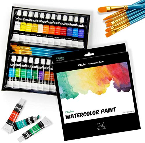 Watercolor Paint Set by Ohuhu 24 Premium Quality Art Watercolors Painting Kit (12 ml, 0.42 oz.) with 6 Painting Brushes for Artists, Students Beginners - for Landscape Painting Valentine's Day Gifts