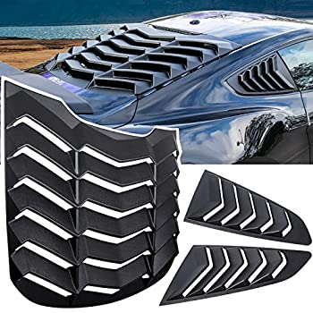 E-cowlboy Rear+Side Window Louver Windshield Sun Shade Cover GT Lambo Style for Ford Mustang 2015 2016 2017 2018 2019 2020 2021 Custom Fit All Weather ABS  Matte Black