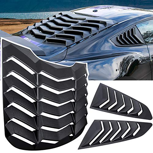 E-cowlboy Rear+Side Window Louver Windshield Sun Shade Cover GT Lambo Style for Ford Mustang 2015 2016 2017 2018 2019 2020 2021 Custom Fit All Weather ABS (Matte Black)