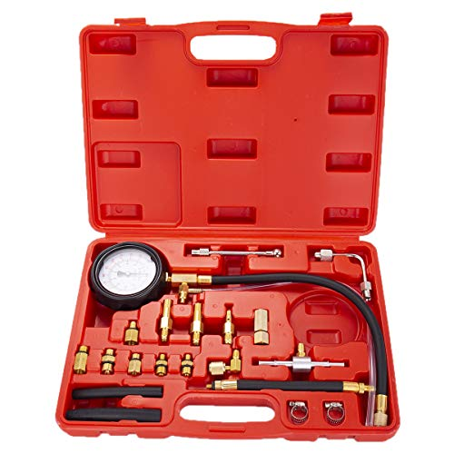 A YSTOOL Fuel Injection Pressure Tester Gauge Kit 140PSI Car Gasoline Gas Engine Fuel Injector Pump Test Manometer Tool Set N