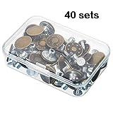 Juego de 40 botones de metal para botones de tachuela de botones de metal con caja de almacenamiento, kit de...