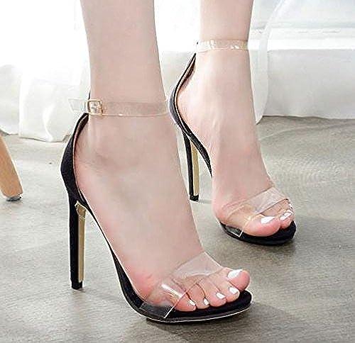 ZHUDJ Chaussures Talon Haut Sandales à Talons Hauts Et Transparents Peep Toe Sandales à Talons Hauts