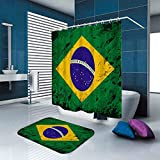 MMPTn Duschvorhang Brasilien Flagge Vintage Dekoration Set wasserdicht 71 x 71 Zoll 40 x 60 cm Flanell Material beinhaltet zwölf Kunststoffhaken für Home Decor
