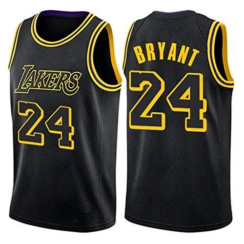 Sin mangas unisex 24 de Kobe Bryant Lakers Jersey, baloncesto masculino, bordado de malla de baloncesto swingman Jersey Gran,Round neck black 24,L