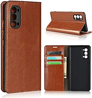 Hanlwza Case Cover For Oppo Reno 4 Pro 5G Leather Case, Luxury Crazy Horse Genuine Leather Wallet Case with Viewing Stand ...