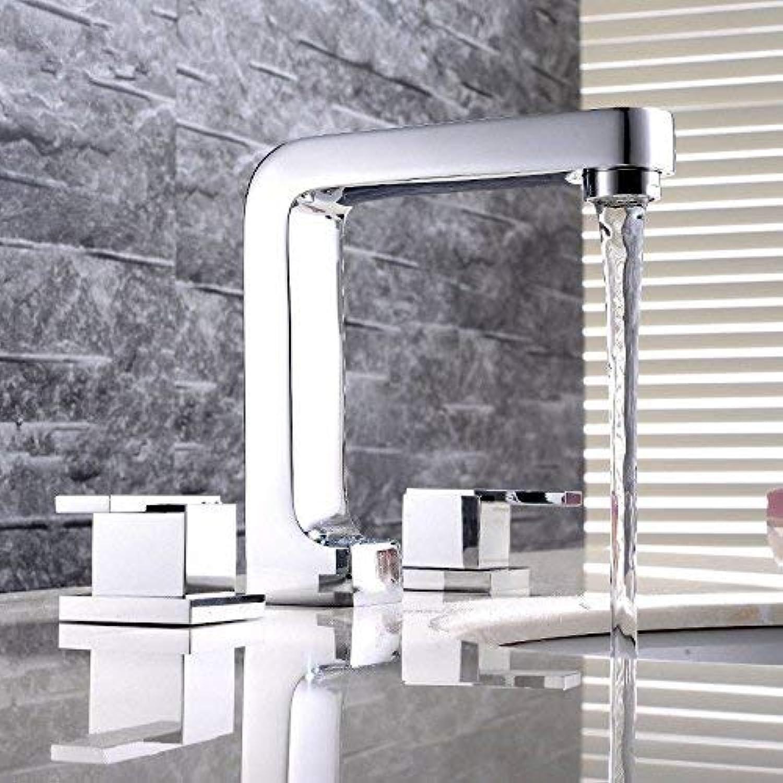 DMNJD Moderne einfacheKupfer hei und kalt Wasserhhne Küchenarmatur Heie und kalte Becken Waschbecken Split Becken Mischbatterie Wasserhahn DREI Loch Wasserhahn Geeignet für alle Badezimmer