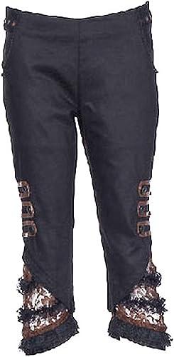 RQ-BL Pantalon Pantacourt Steampunk Noir et Marron avec detelle et lanières rqbl