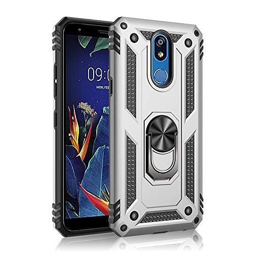 BestST Funda para LG K40,Elegante Armadura híbrida Robusta Funda de Doble Capa de Alta Resistencia para PC Duro Caso con Anillo Grip Kickstand con HD Protector de Pantalla,-Plata