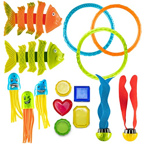 Prextex 15 Piece Diving Toy Set Summer Fun Underwater Sinking Swimming Pool Toy for Kids