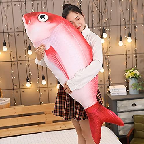 MKZHANG 40-120 CM Divertido pez Rojo Juguetes de Peluche Carpa de Peluche Almohada de Animal Mascota Gato Perro Juguete bebé niños habitación decoración cumpleaños-40cm