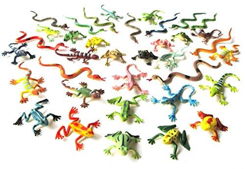 36x Serpientes Ranas lagartos salamandra Animales Figuras Monoblocs Reptiles
