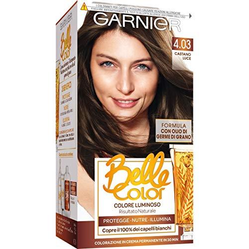Garnier Tinta Capelli Belle Color, Colore Luminoso e Riflessi Naturali, Copre il 100% dei Capelli Bianchi, Castano Mediterraneo, Confezione da 1
