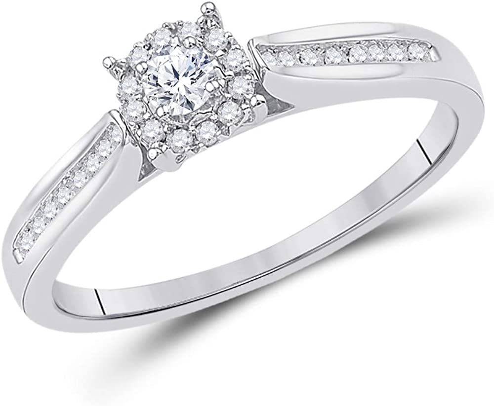 Saris and Things 10kt White Bridal Max 45% OFF Gold Colorado Springs Mall Round Solitaire Diamond