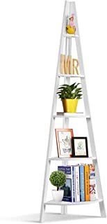 Tangkula Corner Ladder Shelf, 5-Tier Corner Ladder Bookcase, Wooden A-Shaped Display Organizer Plant Flower Stand, for Home Office, 5-Shelf Corner Ladder Bookshelf (White)