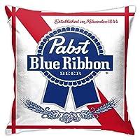 Pabst Blue Ribbon Beer Logo 正方形の枕カバーホームベッドサイドソファの装飾(枕コアを含まない)