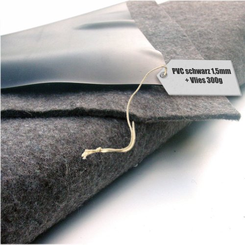 Vijverfolie PVC 1,5 mm zwart in 20 m x 12 m met vlies 300 g/m²