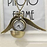 Yixikejiyouxian-A Elegante Snitch Reloj de Cuarzo Encantador Vintage Angel Wing Fob Reloj...