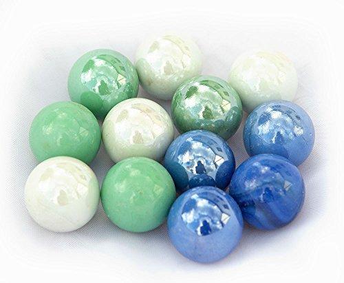 mabro 12x große Murmeln; opak: blau, weiß, grün