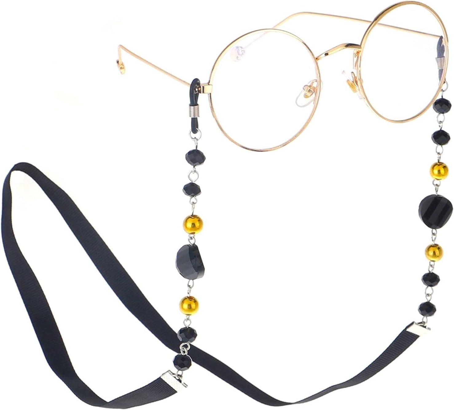 HYMD Eyeglass Chain Fashion Women Sunglass Chain Black Acrylic Beads Eyeglass Chains Anti-Slip Eyewear Cord Holder Neck Strap Reading Glasses Rope